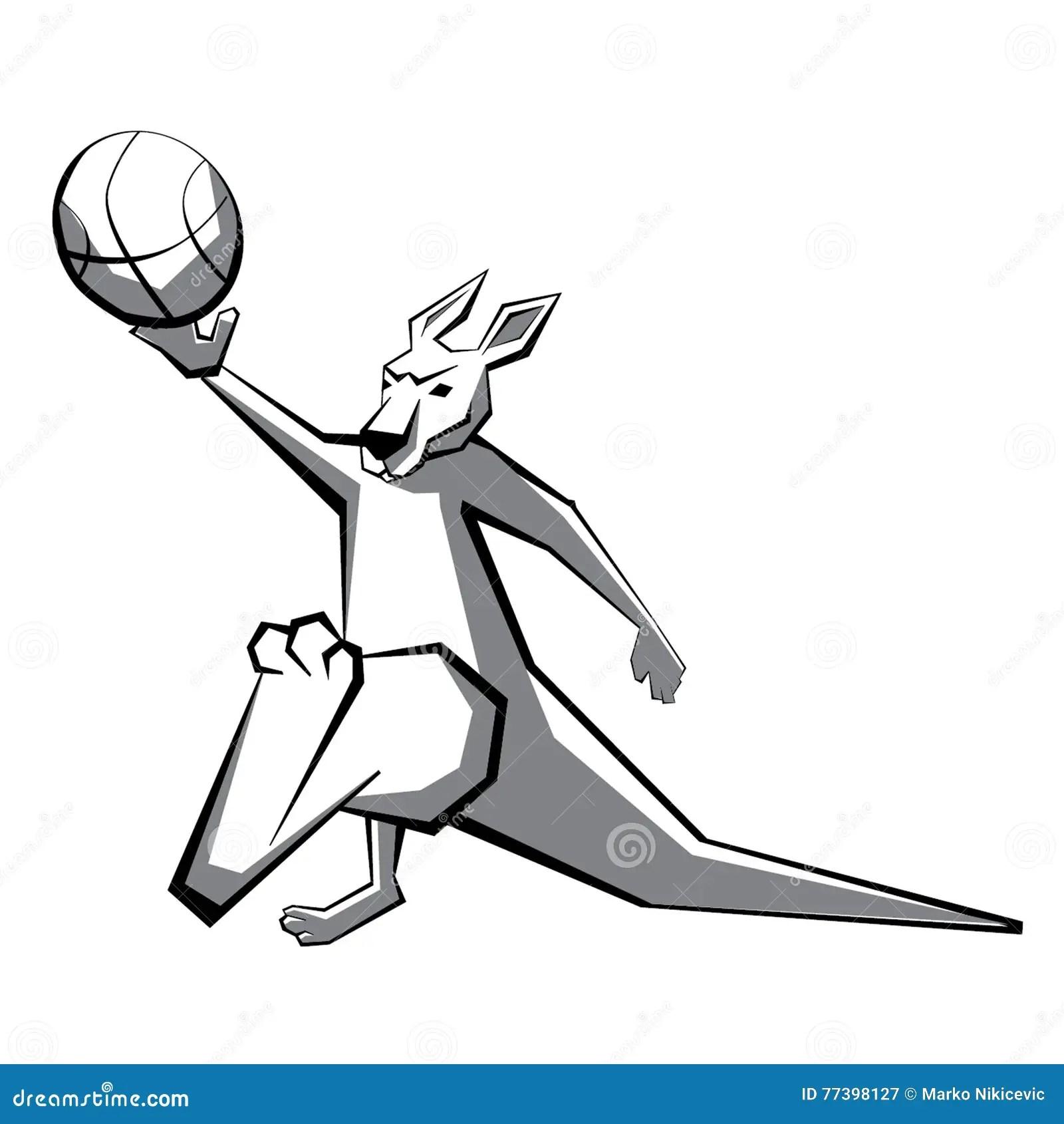 Kangaroo Basketball Player 2 Stock Vector