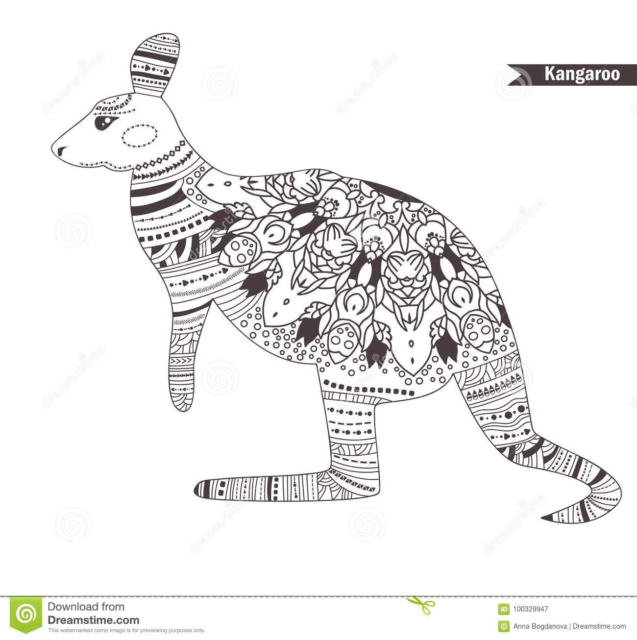 Kangaroo Coloring Book Stock Vector Illustration Of
