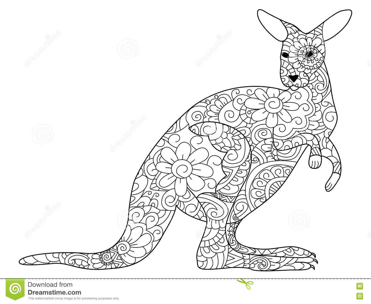 Kangaroo Coloring Book Vector For Adults Stock Vector