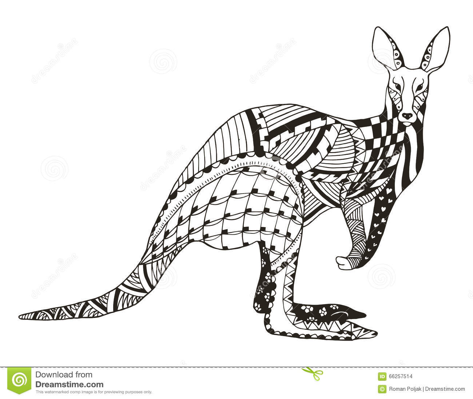 Kangaroo Zentangle Stylized, Vector, Illustration