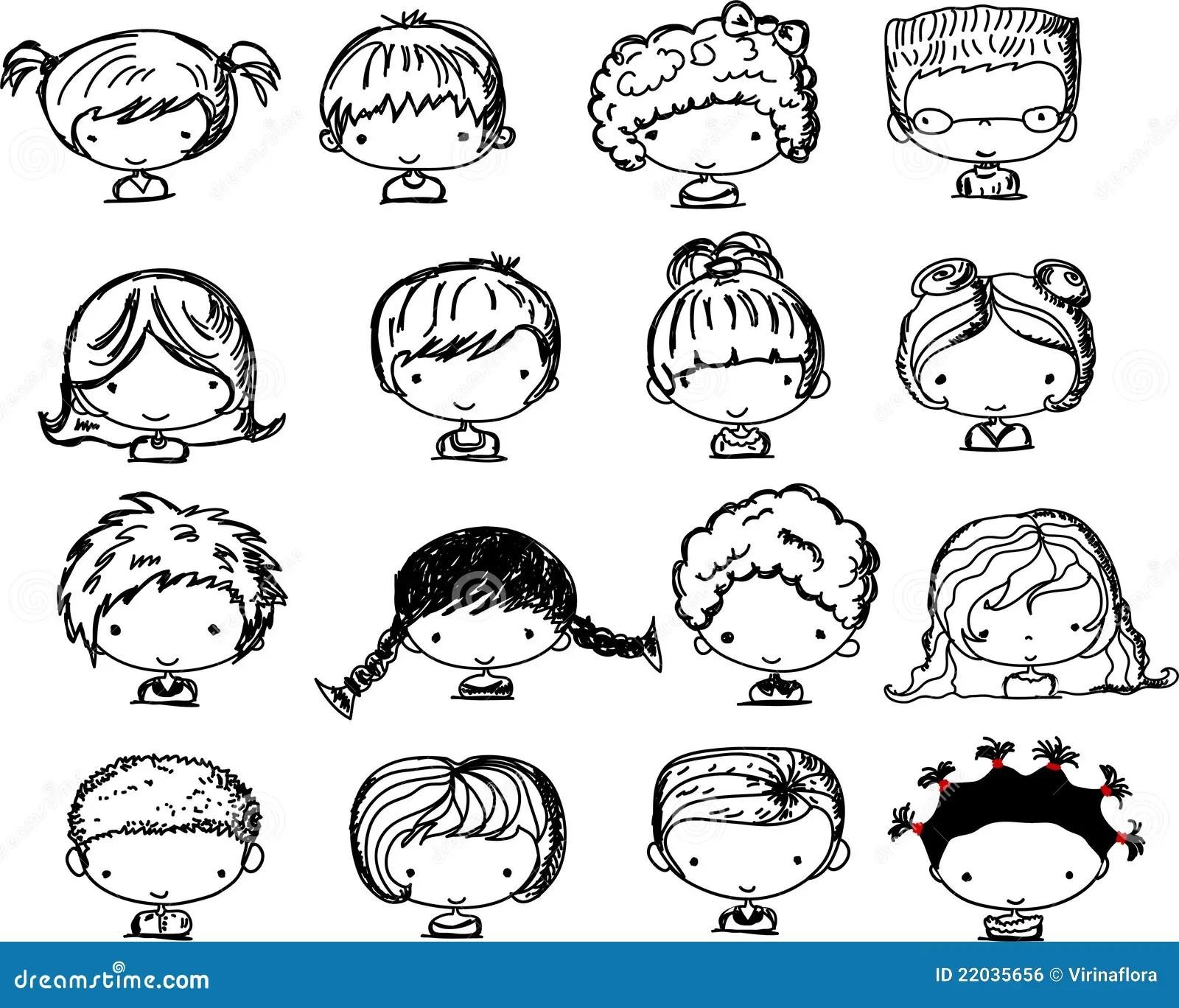 Karikaturgesichter Der Kinder Vektor Vektor Abbildung