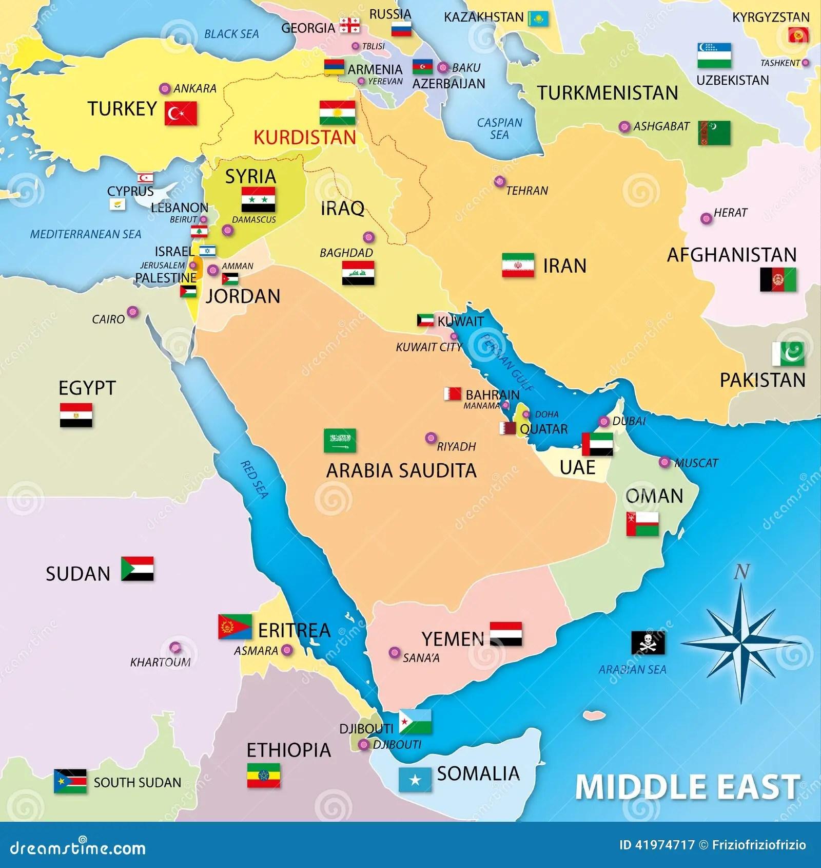 Karte Mittleren Ostens Mit Flaggen Stock Abbildung