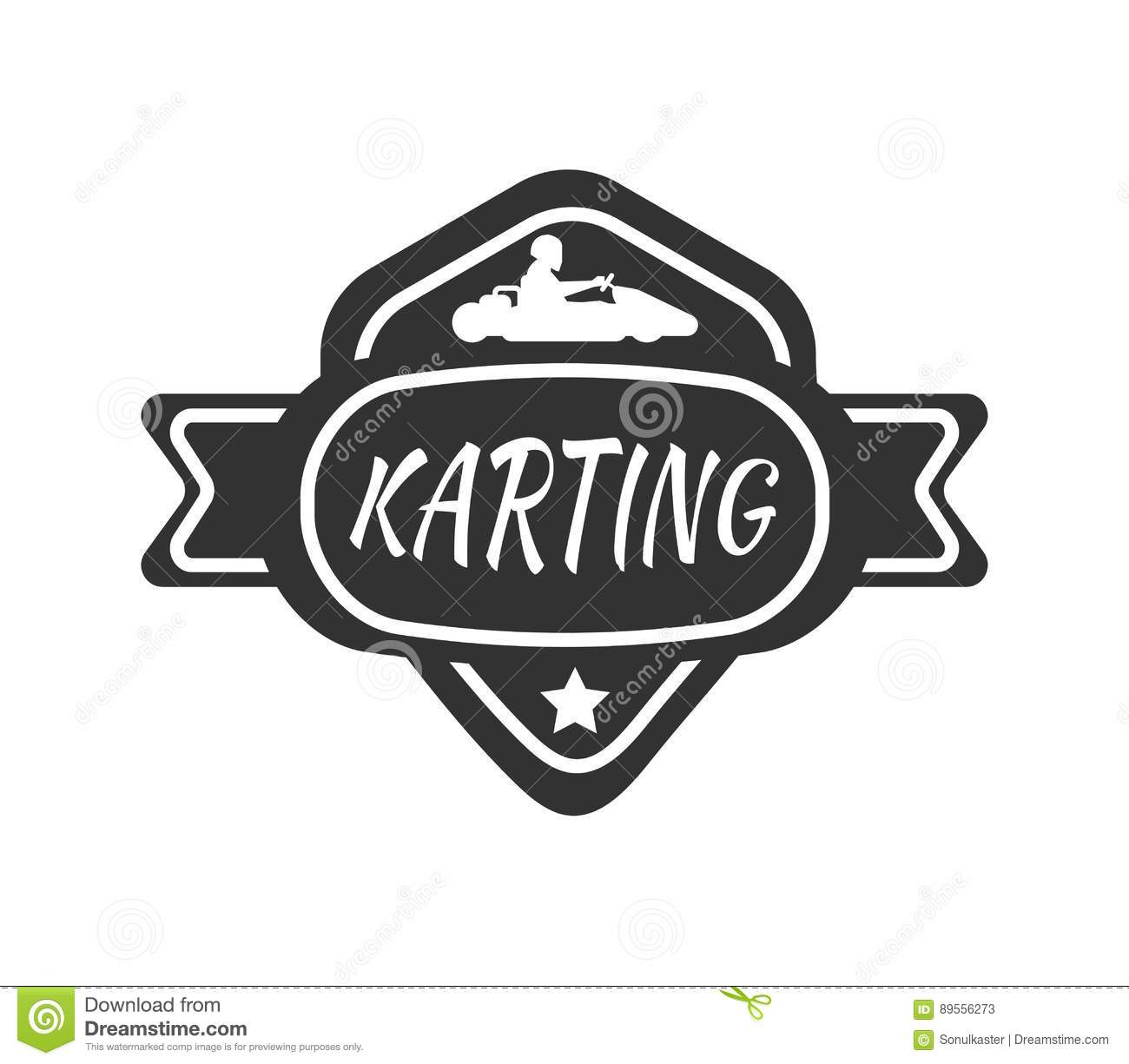 Karting Club Or Kart Races Sport Car Vector Template Icon