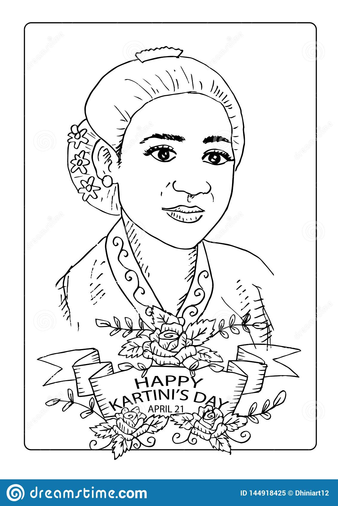 Ra Kartini Vector : kartini, vector, Kartini`s, Coloring, Page., Kartini, Heroes, Women, Human, Right, Indonesia., April., Stock, Vector, Illustration, Emancipation,, Concern:, 144918425