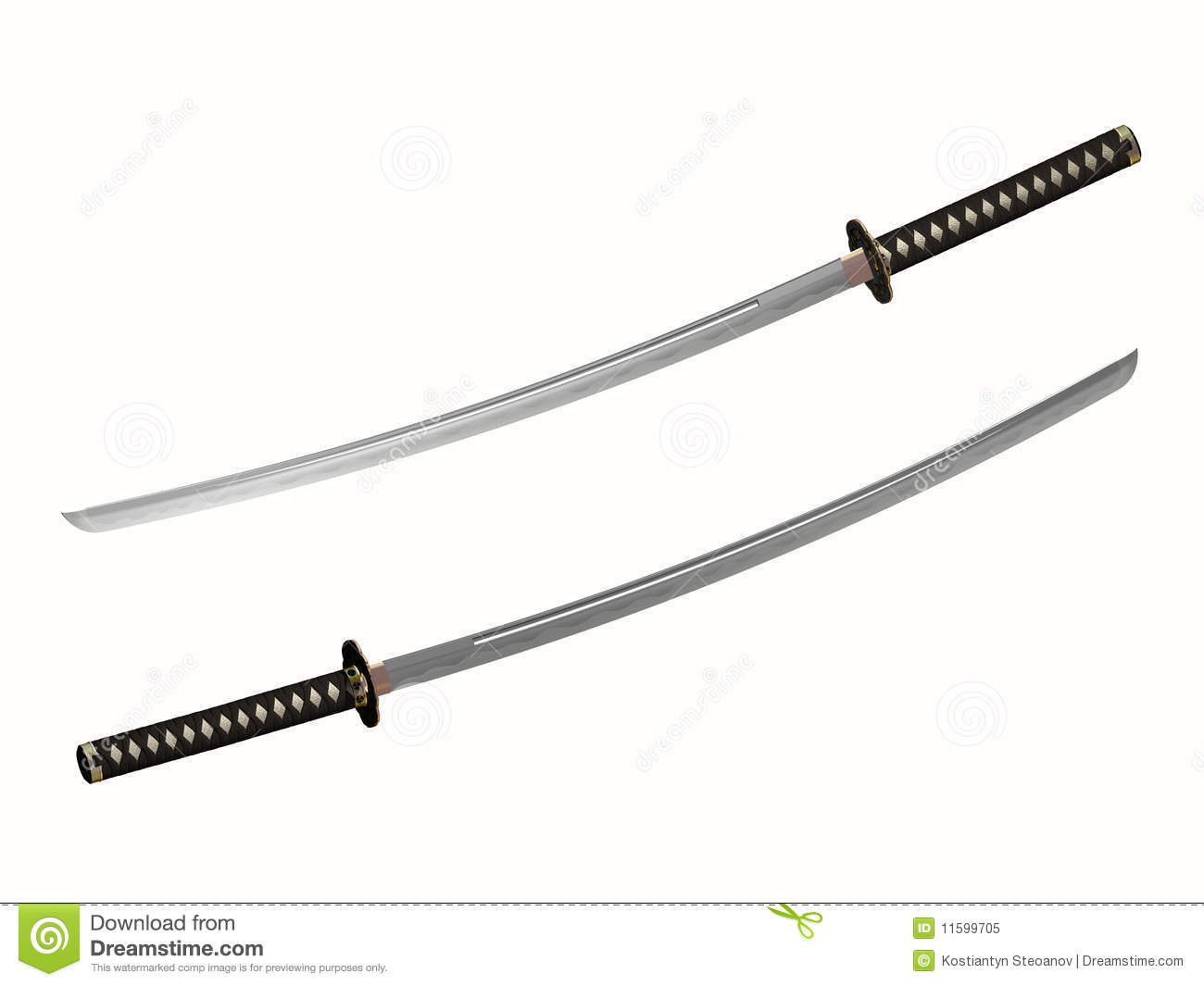 Katana Japanese Two Handed Sword Of Samurai Royalty Free
