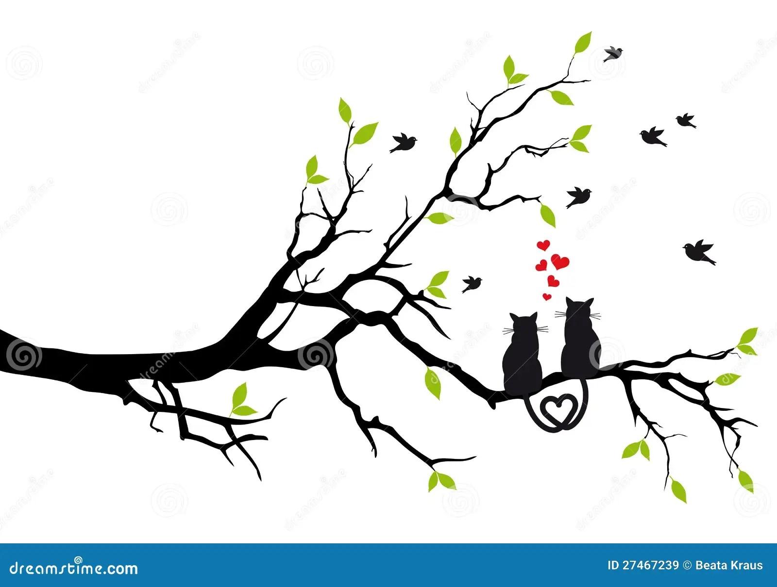 Katzen In Der Liebe Auf Baum Vektor Lizenzfreie