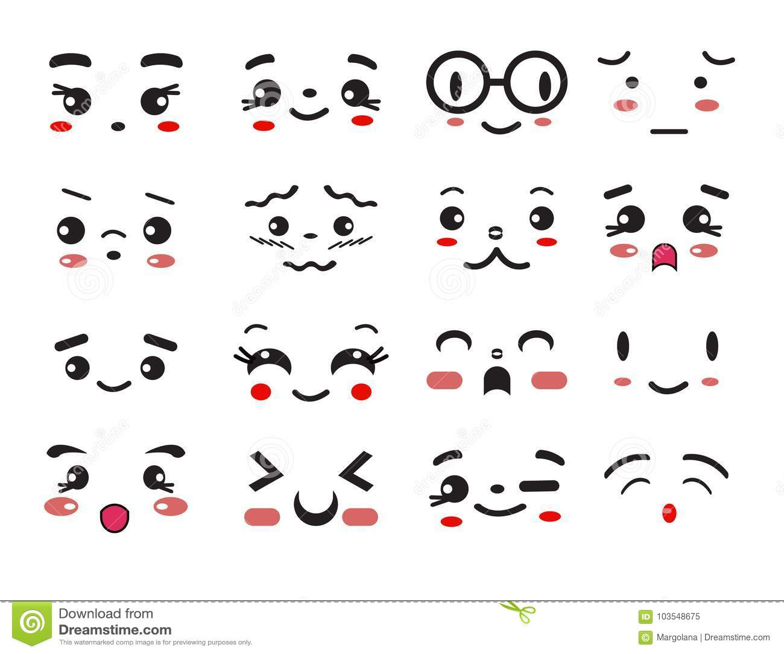 Kawaii Cute Smile Emoticons And Japanese Anime Emoji Stock