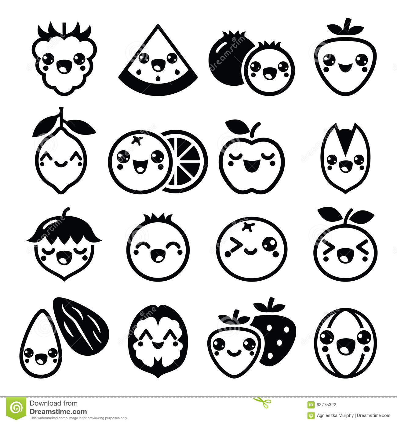 Kawaii Fruit And Nuts Cute Characters Design Stock