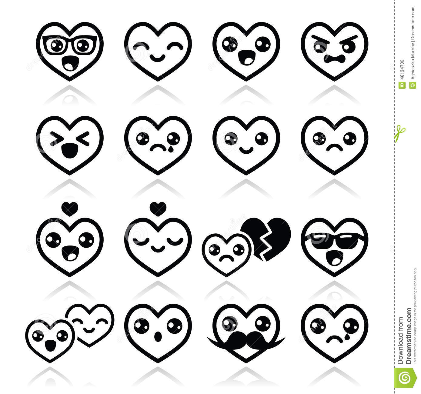 Kawaii Hearts Valentine S Day Cute Icons Set Stock