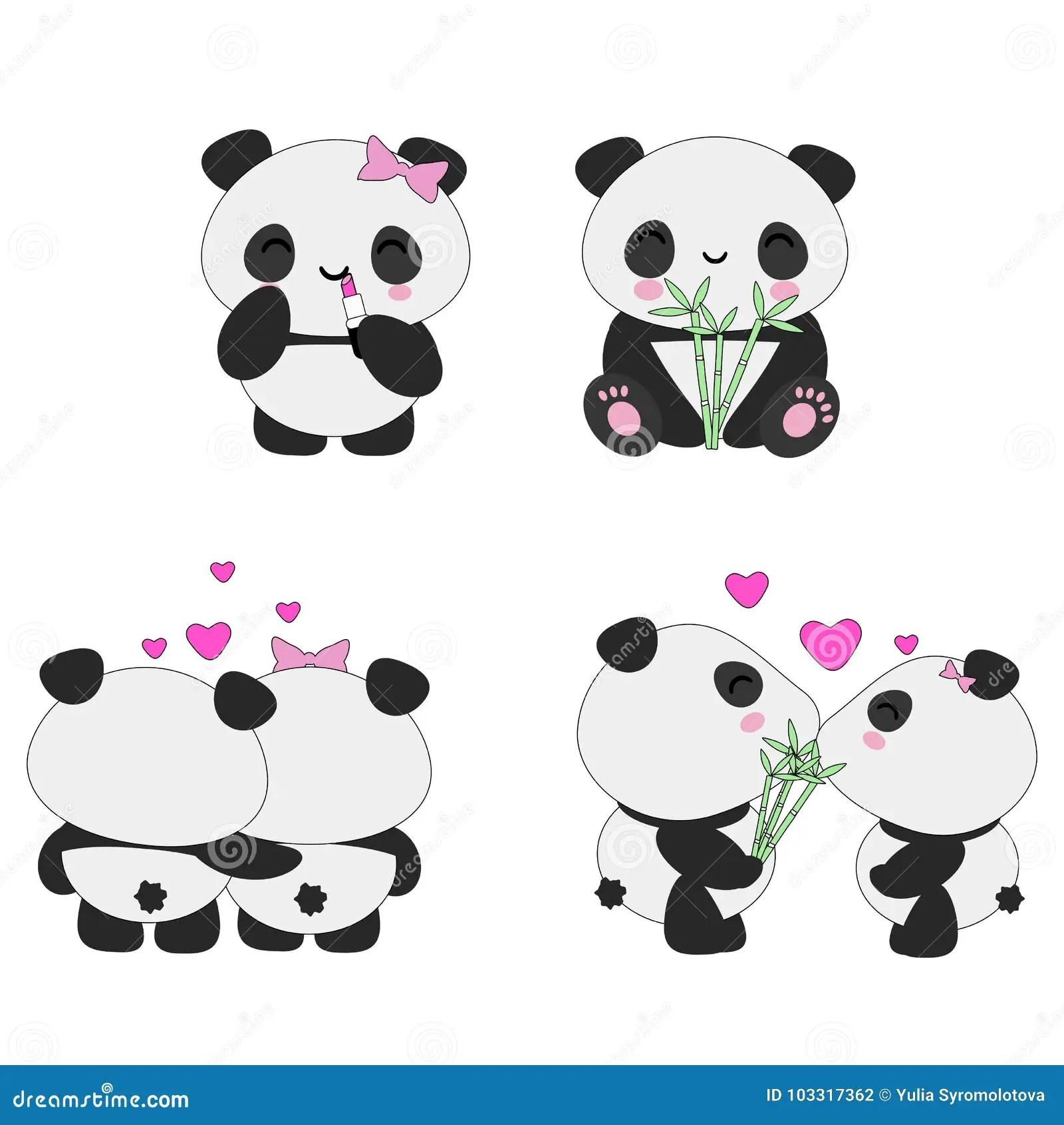 Kawaii Pandas Love Set Stock Illustration Illustration Of