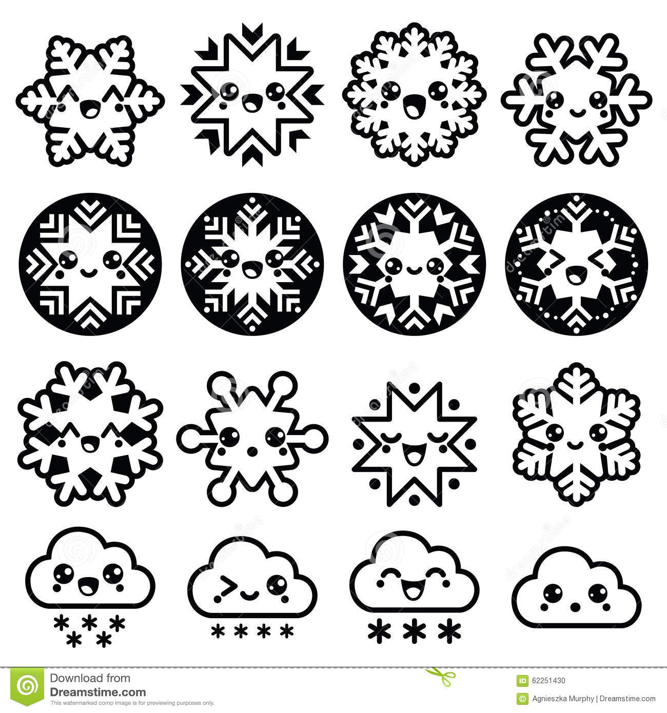 Kawaii Snowflakes Clouds With Snow