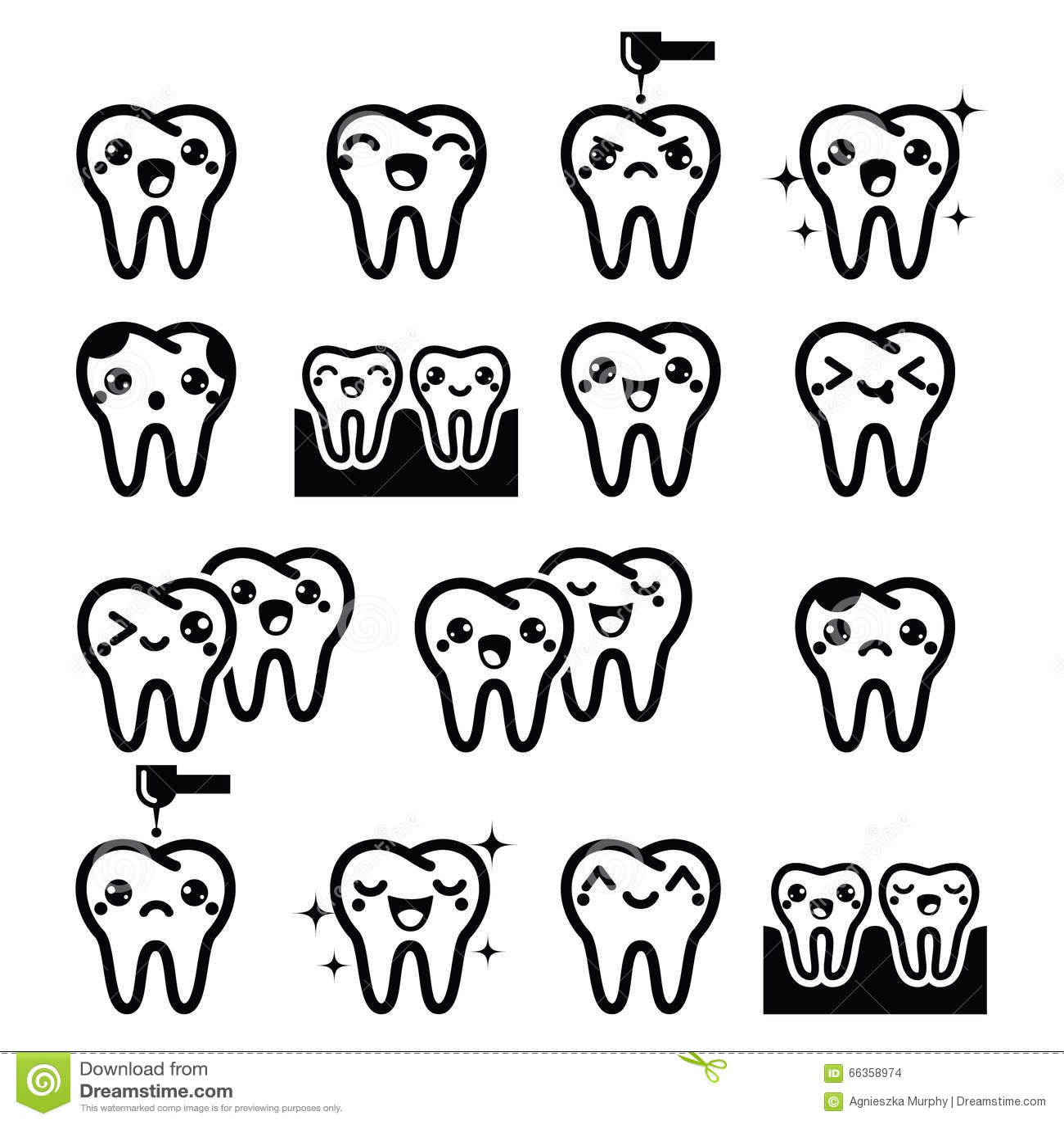 Kawaii Tooth Cute Teeth Characters