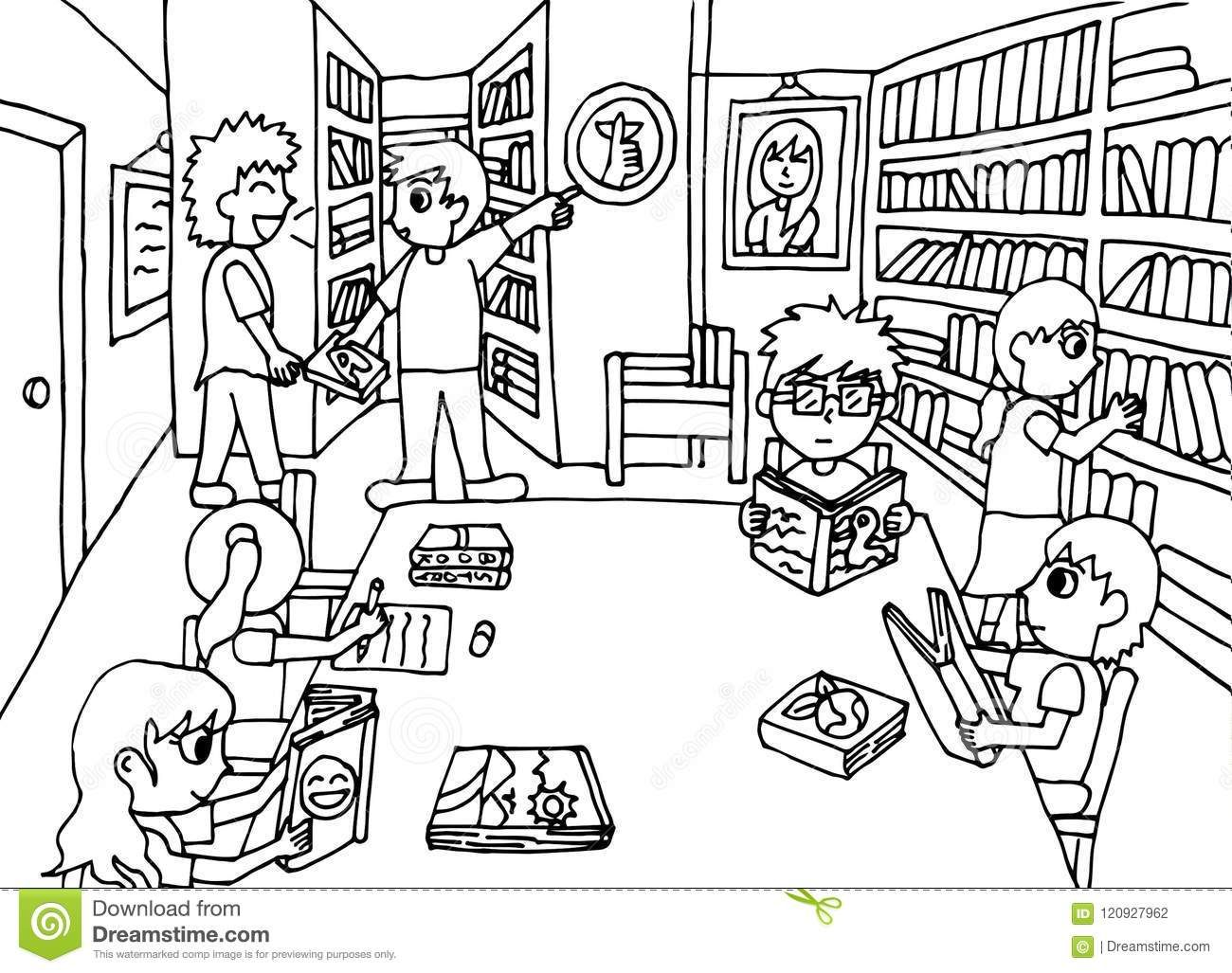 Keep quiet in the library stock illustration. Illustration