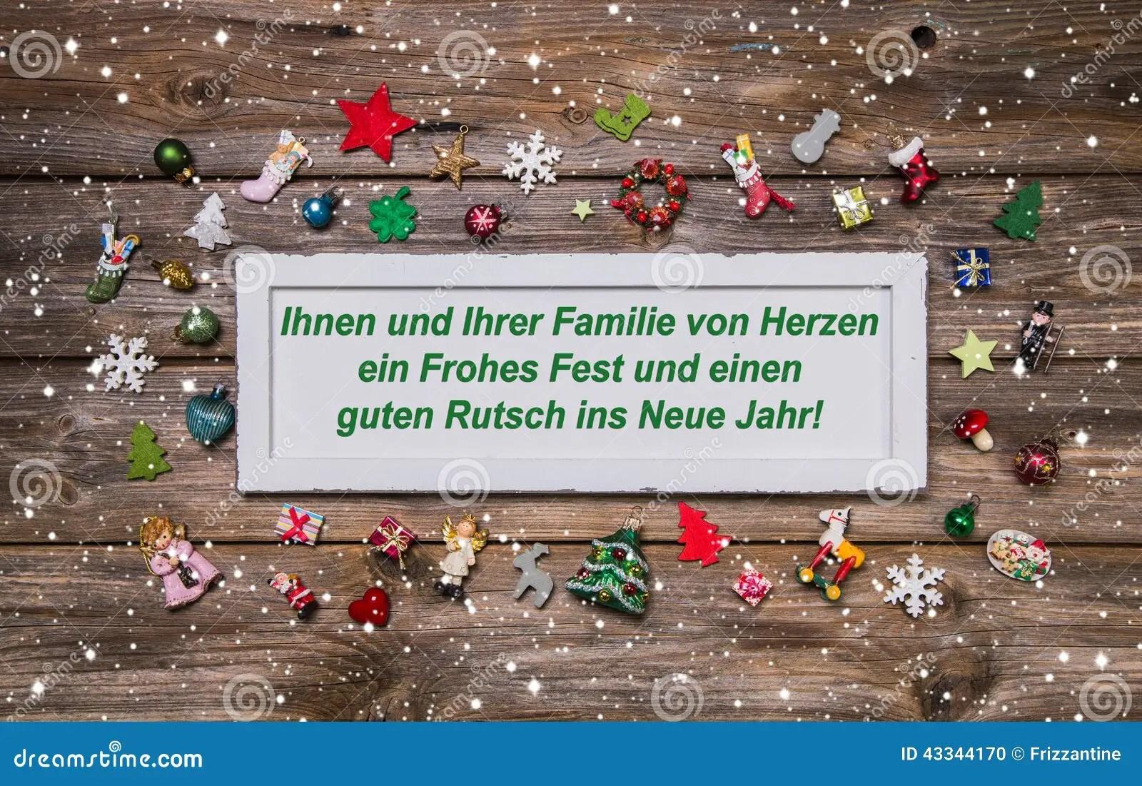 Kerstkaart Met Kleurrijke Decoratie En Duitse Teksten