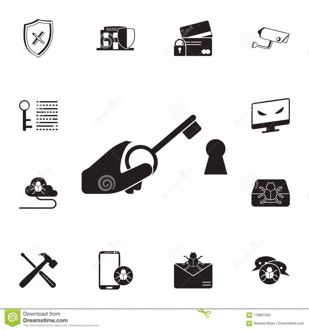 Set Of Security Simple Icons Vector Illustration