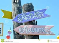 Key West to Havana signs stock photo. Image of signs ...