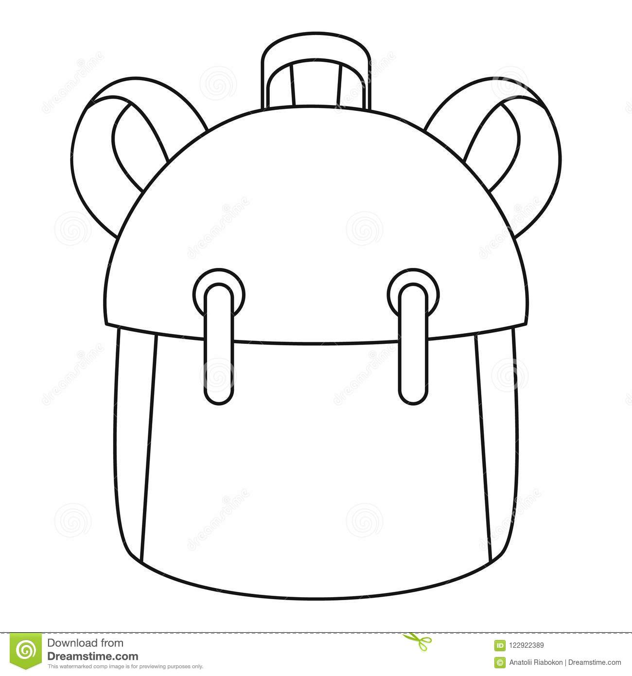 Kid Backpack Icon Outline Style Stock Vector