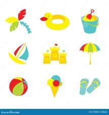 Kid Beach Icons Stock - 31753002