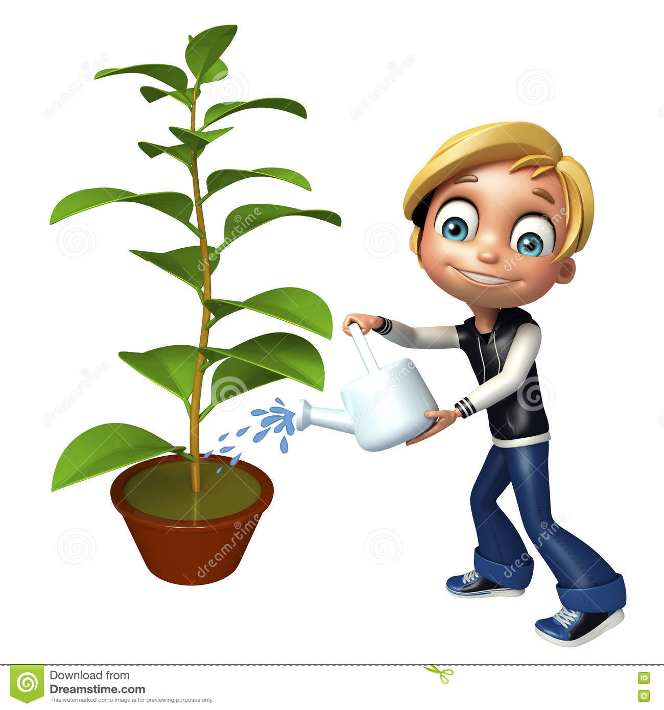 hight resolution of kid boy with plant watering can