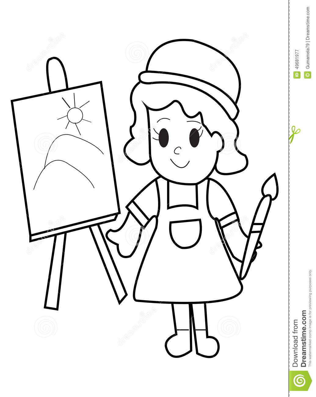 Coloring Page. Drum And Drumsticks Vector Illustration