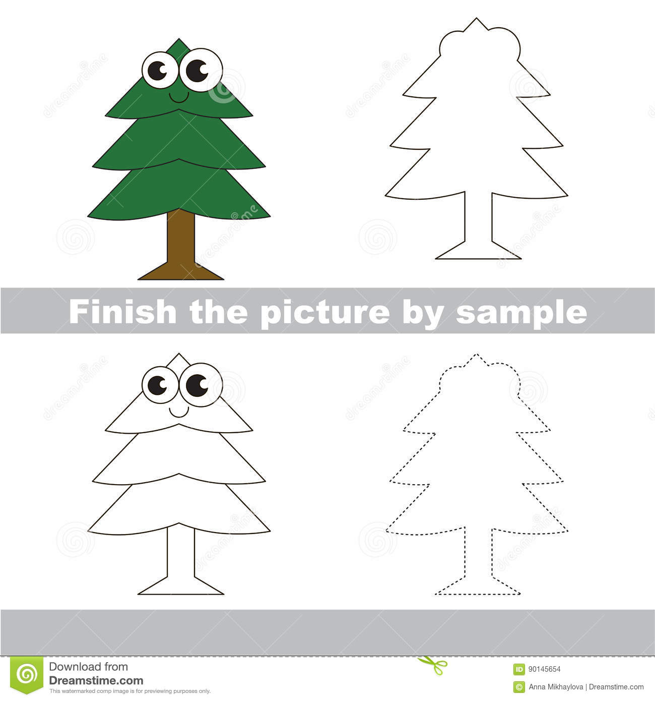 Kid Drawing Worksheet To Complete Picture By Sample