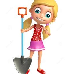 3d rendered illustration of kid girl with digging shovel [ 1100 x 1300 Pixel ]