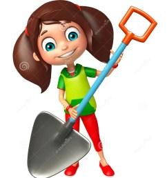 3d rendered illustration of kid girl with digging shovel [ 1122 x 1300 Pixel ]