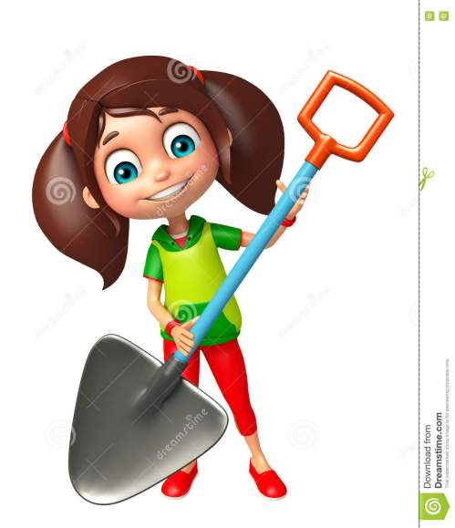 small resolution of 3d rendered illustration of kid girl with digging shovel