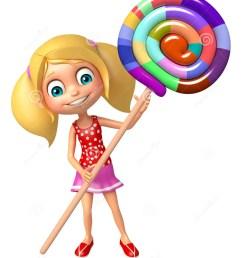 3d rendered illustration of kid girl with lollipop [ 1131 x 1300 Pixel ]