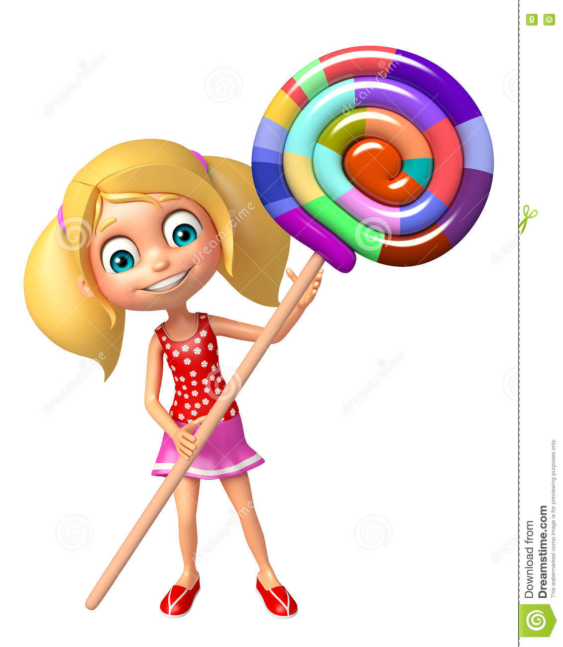 hight resolution of 3d rendered illustration of kid girl with lollipop