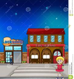 illustration of a kid standing before a locksmith and fire station [ 1179 x 1300 Pixel ]