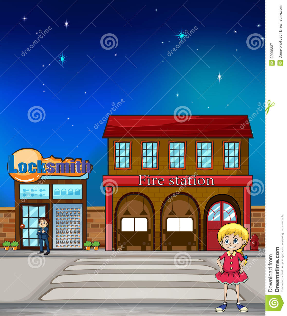 hight resolution of illustration of a kid standing before a locksmith and fire station