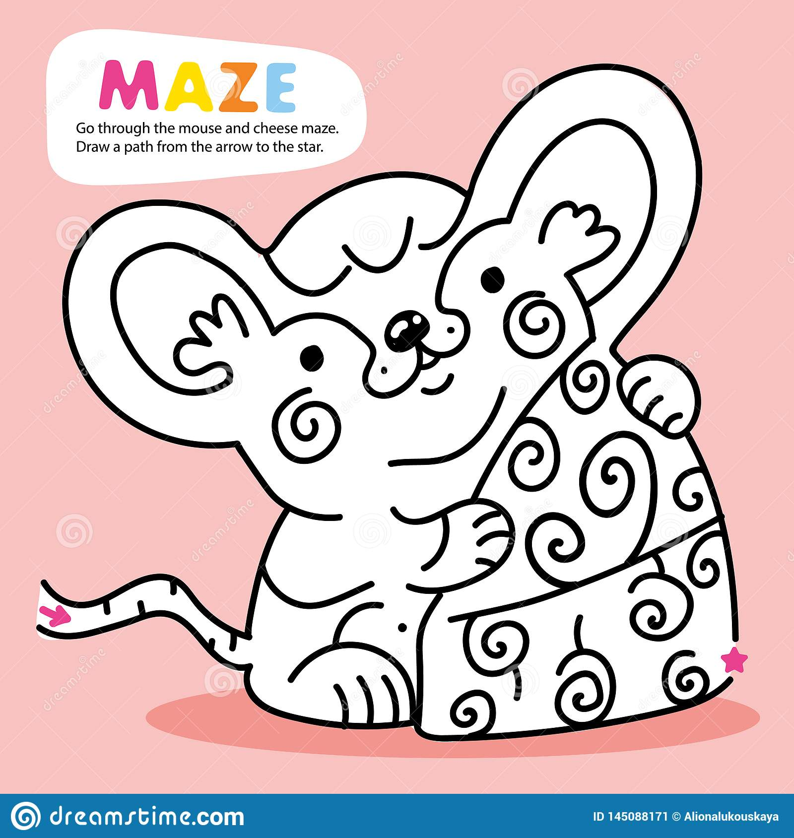 Kid Logic Maze Game Puzzle Mouse Order Printable Stock
