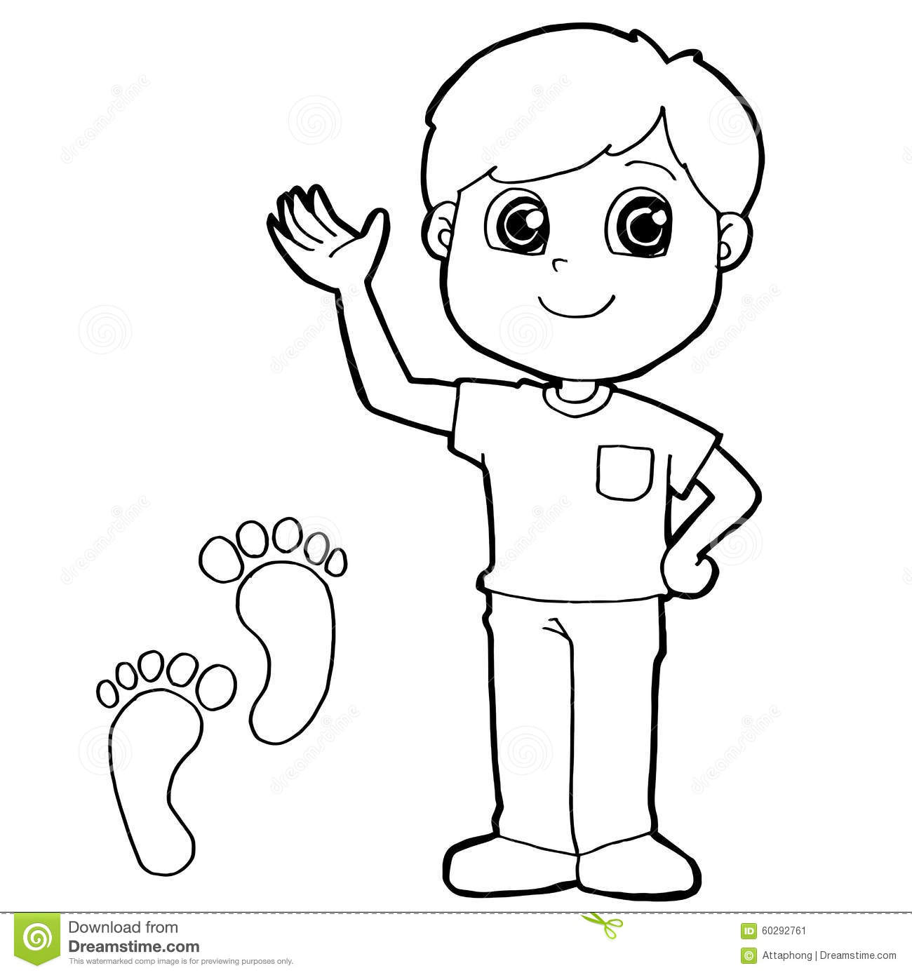 Kid With Paw Print Coloring Page Vector Stock Vector