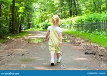 Kid Walking Stock Of Forest Caucasian