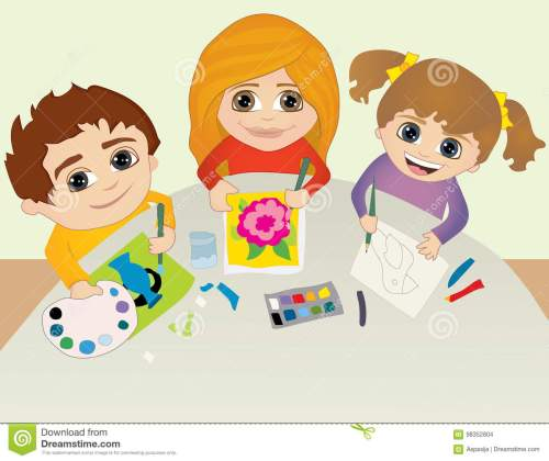 small resolution of art school concept character design back to school happy creative kids playing painting sketching in art class education and enjoyment concept