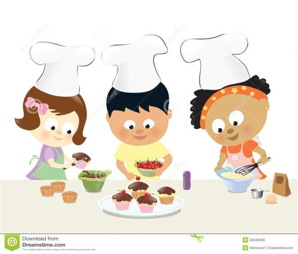 kids baking cupcakes stock vector
