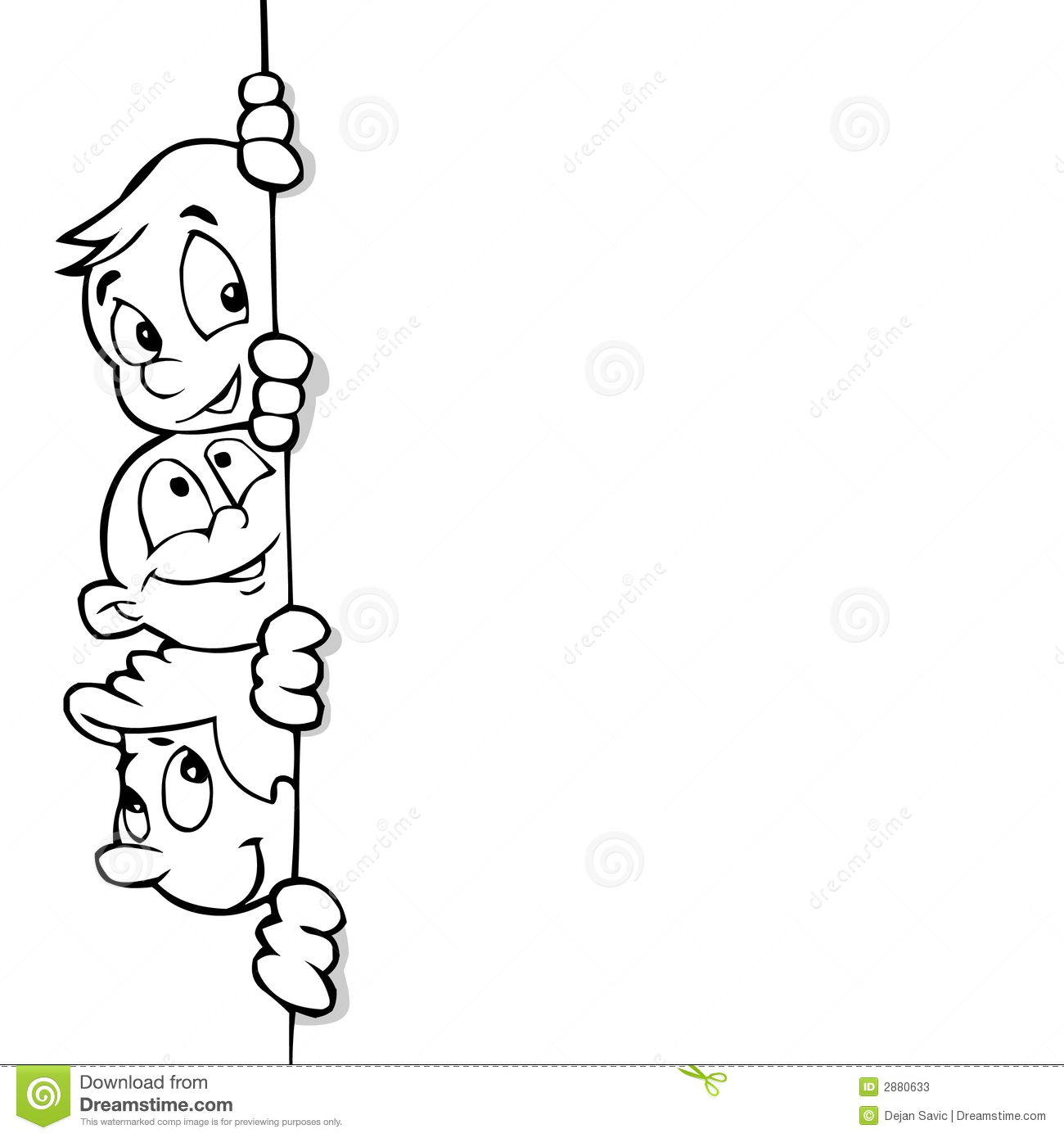 Kids And Banner Line Art Stock Photos