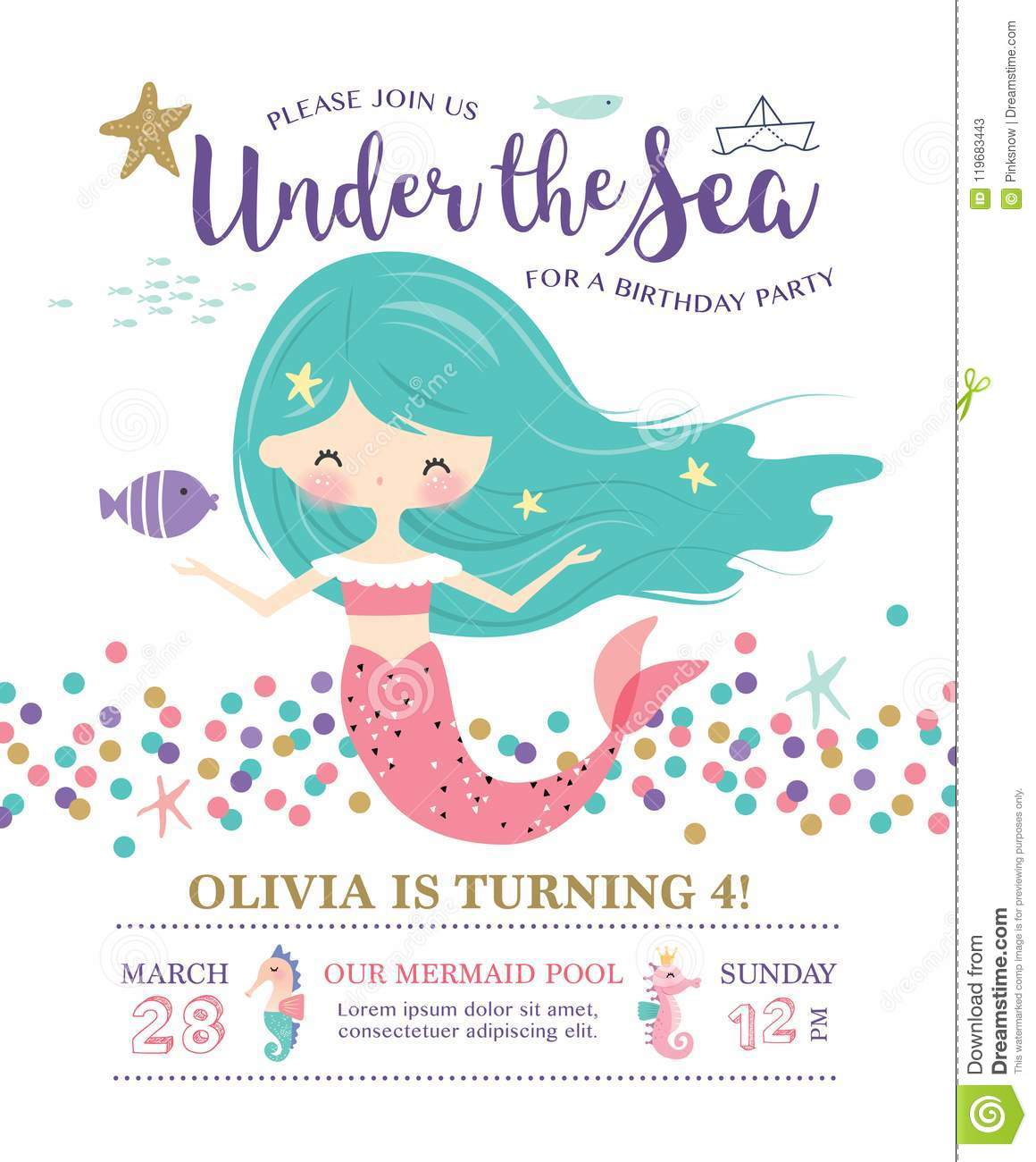 https www dreamstime com kids birthday party invitation card cute little mermaid marine life kids under sea birthday party invitation card image119683443
