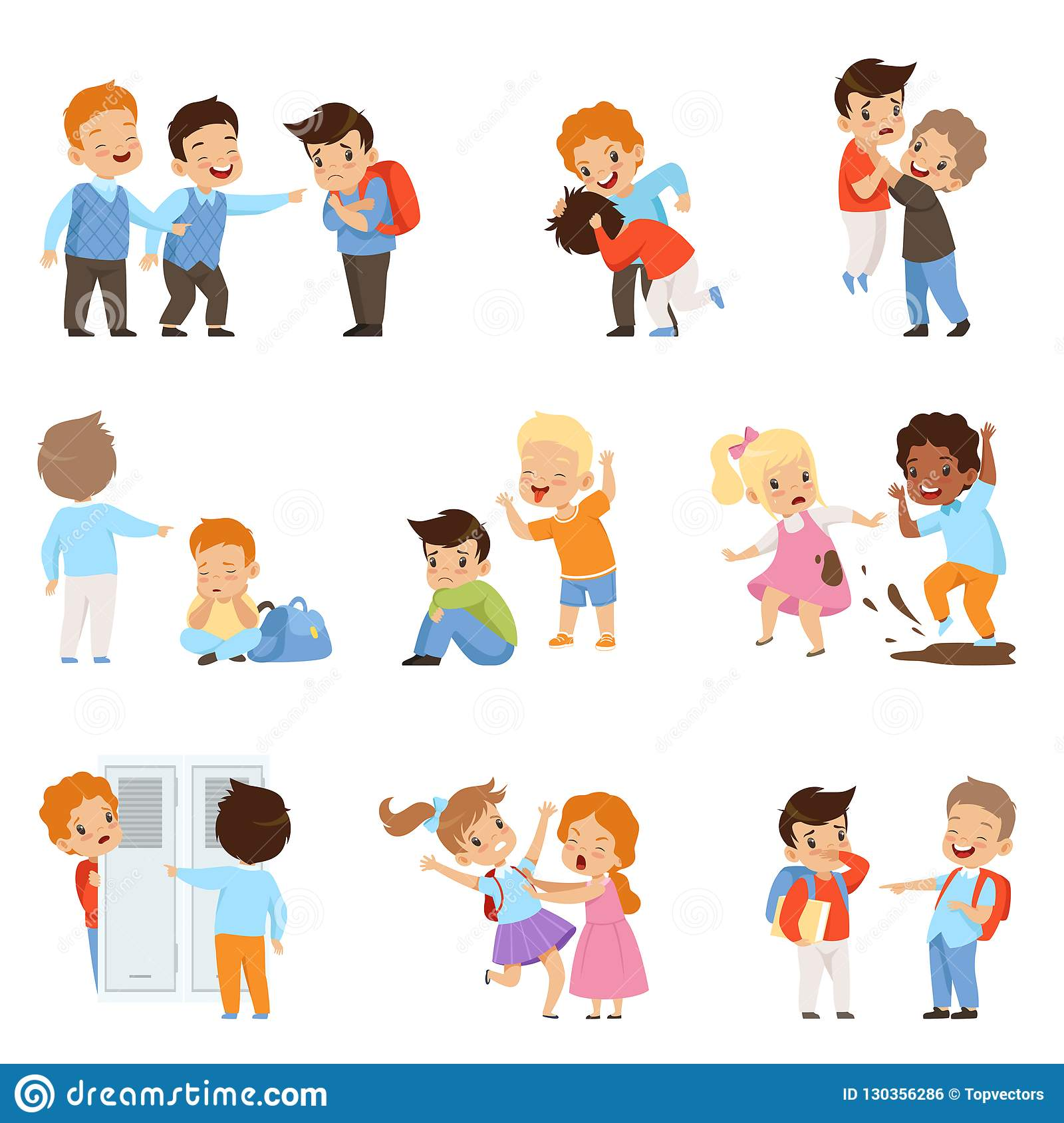 Kids Bullying The Weaks Set Boys And Girls Mocking