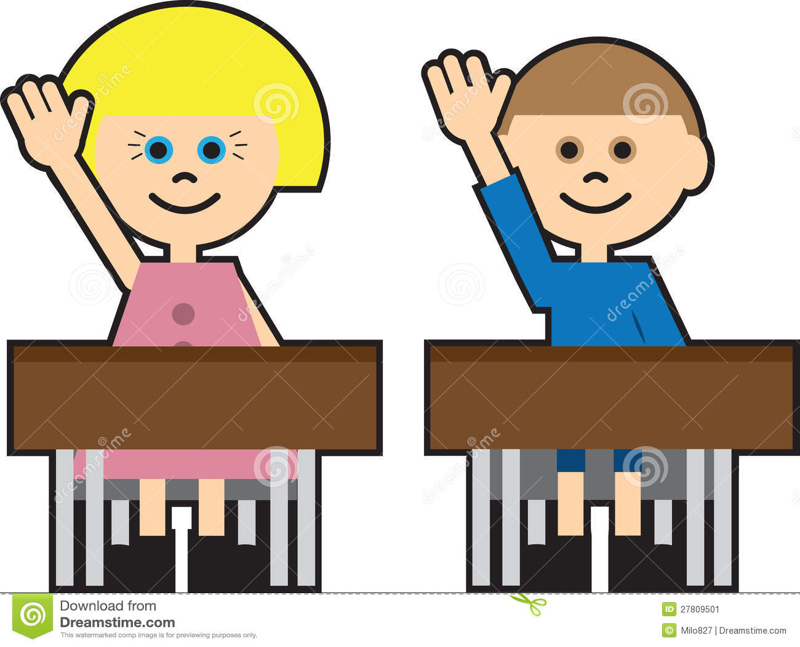 Kids Cartoon Raising Hands Stock Vector Illustration Of
