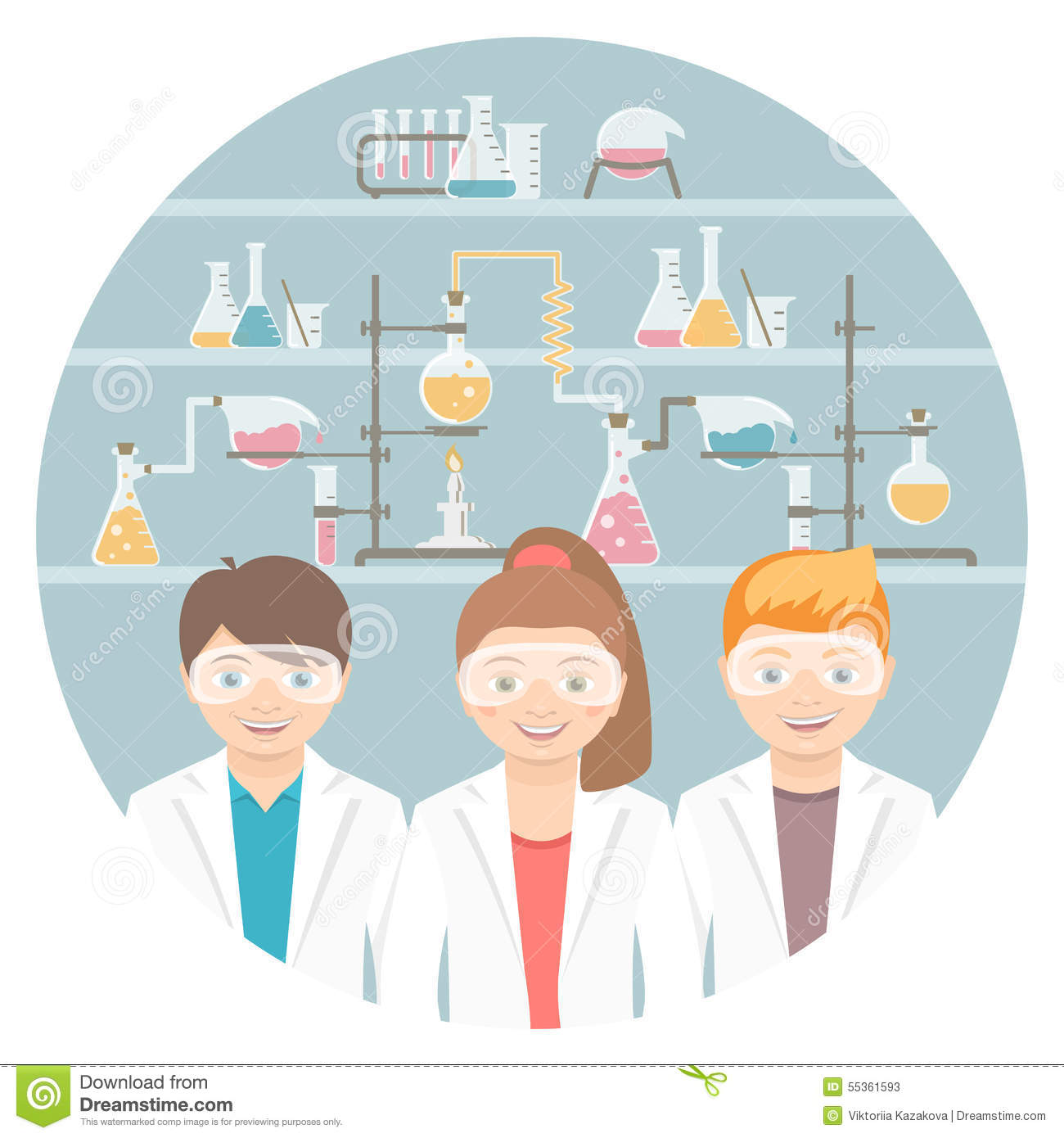 Kids In Chemistry Class Flat Education Concept Stock Vector
