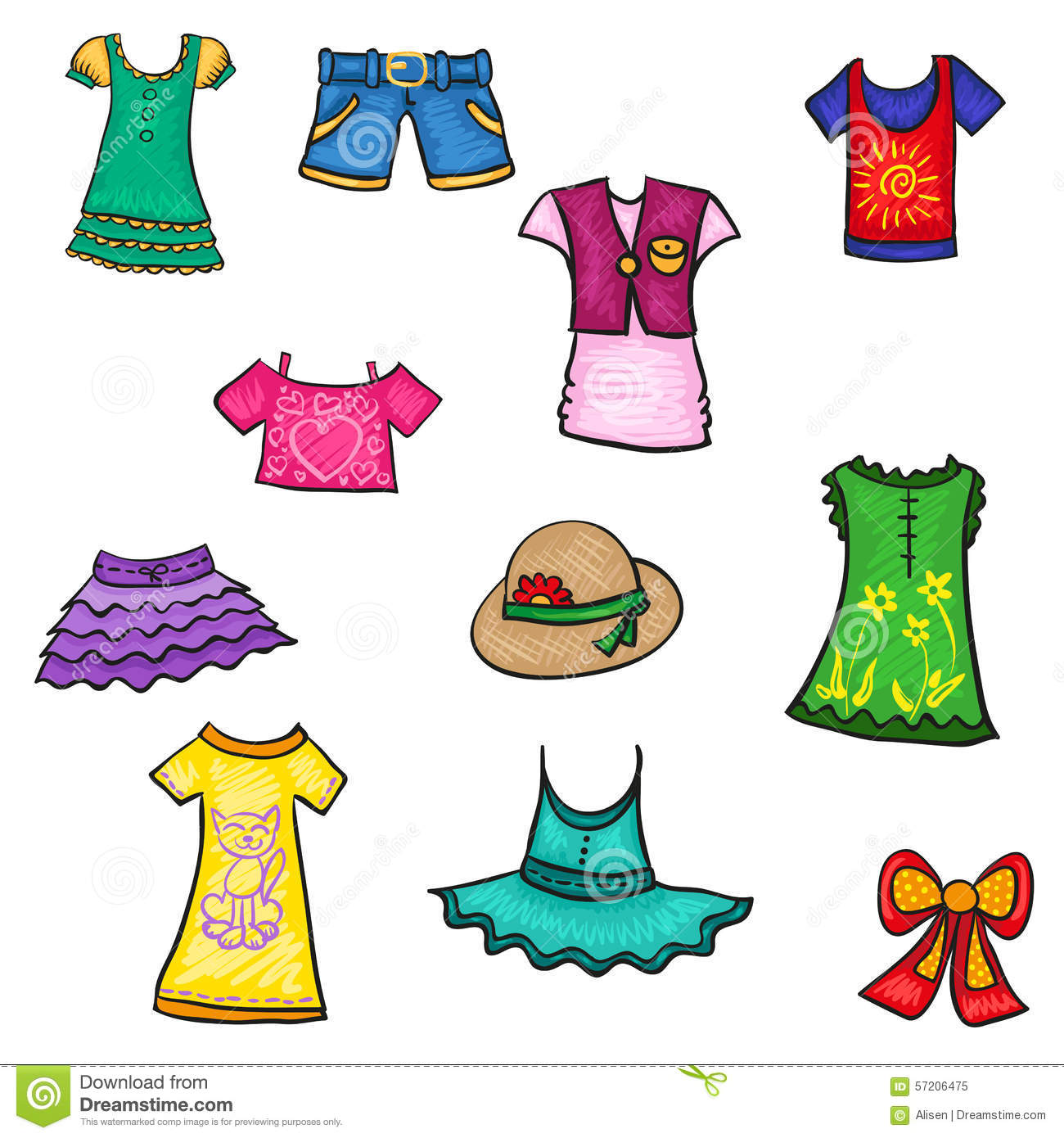 Kids Clothes Hand Drawn Sketch Summer Pattern Stock Vector