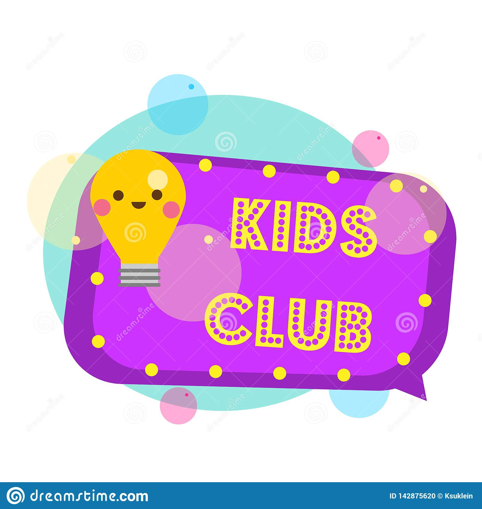 Kids Club Banner Colorful Label With Light Bulb Stock