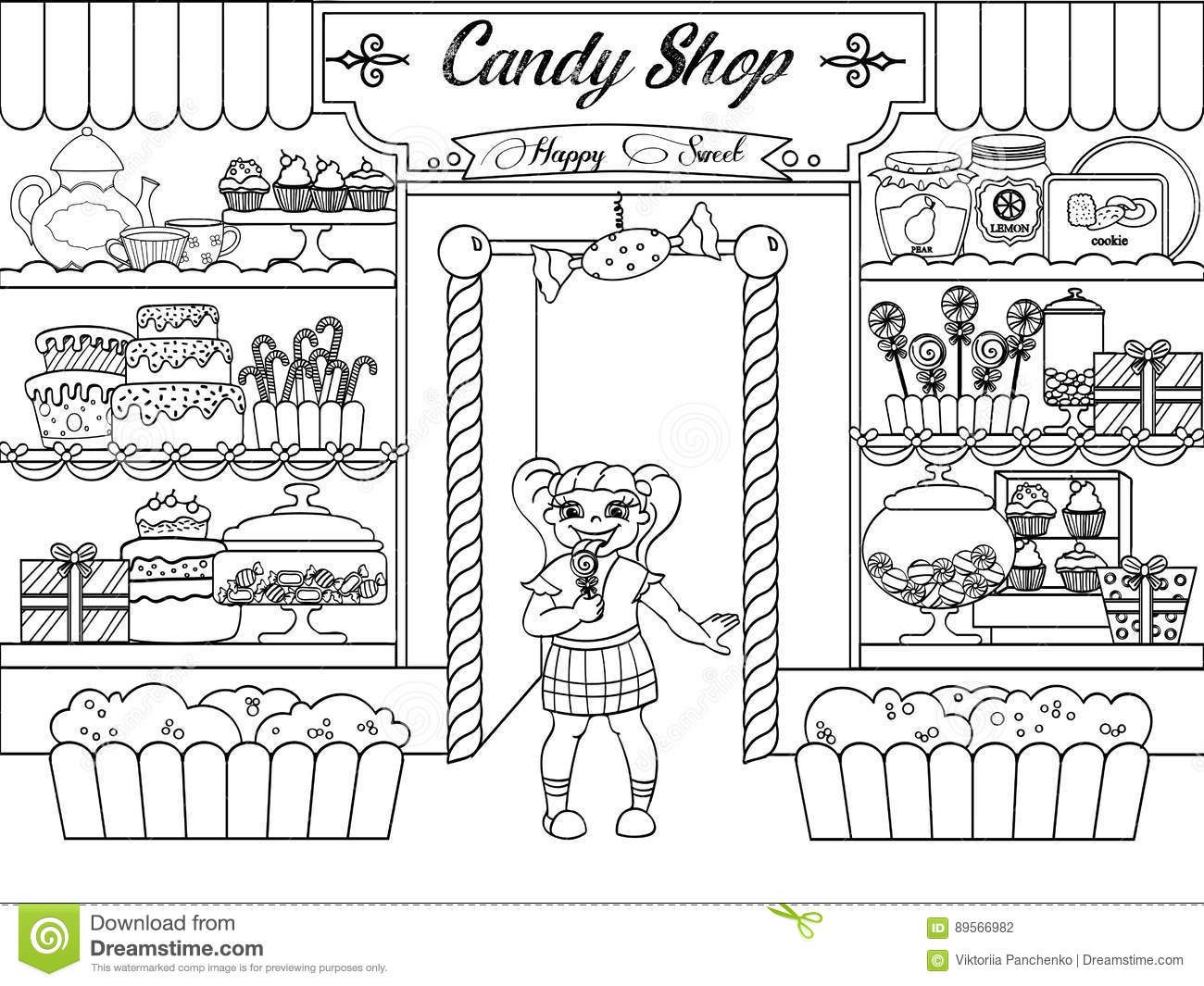 Kids Coloring Vector Girl In Candy Shop Stock Vector