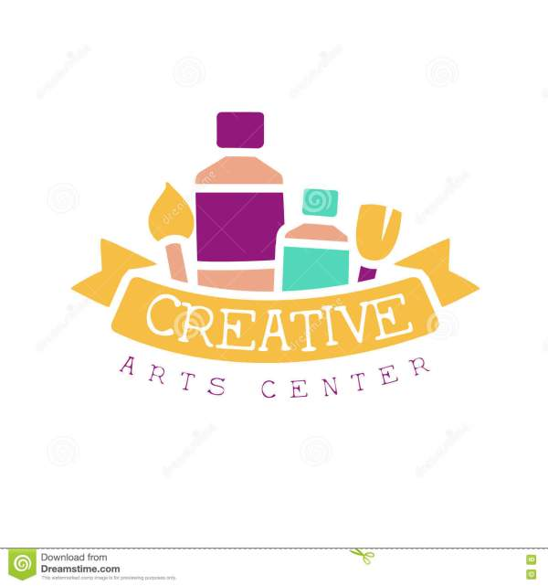 Kids Creative Class Template Promotional Logo With Ribbon