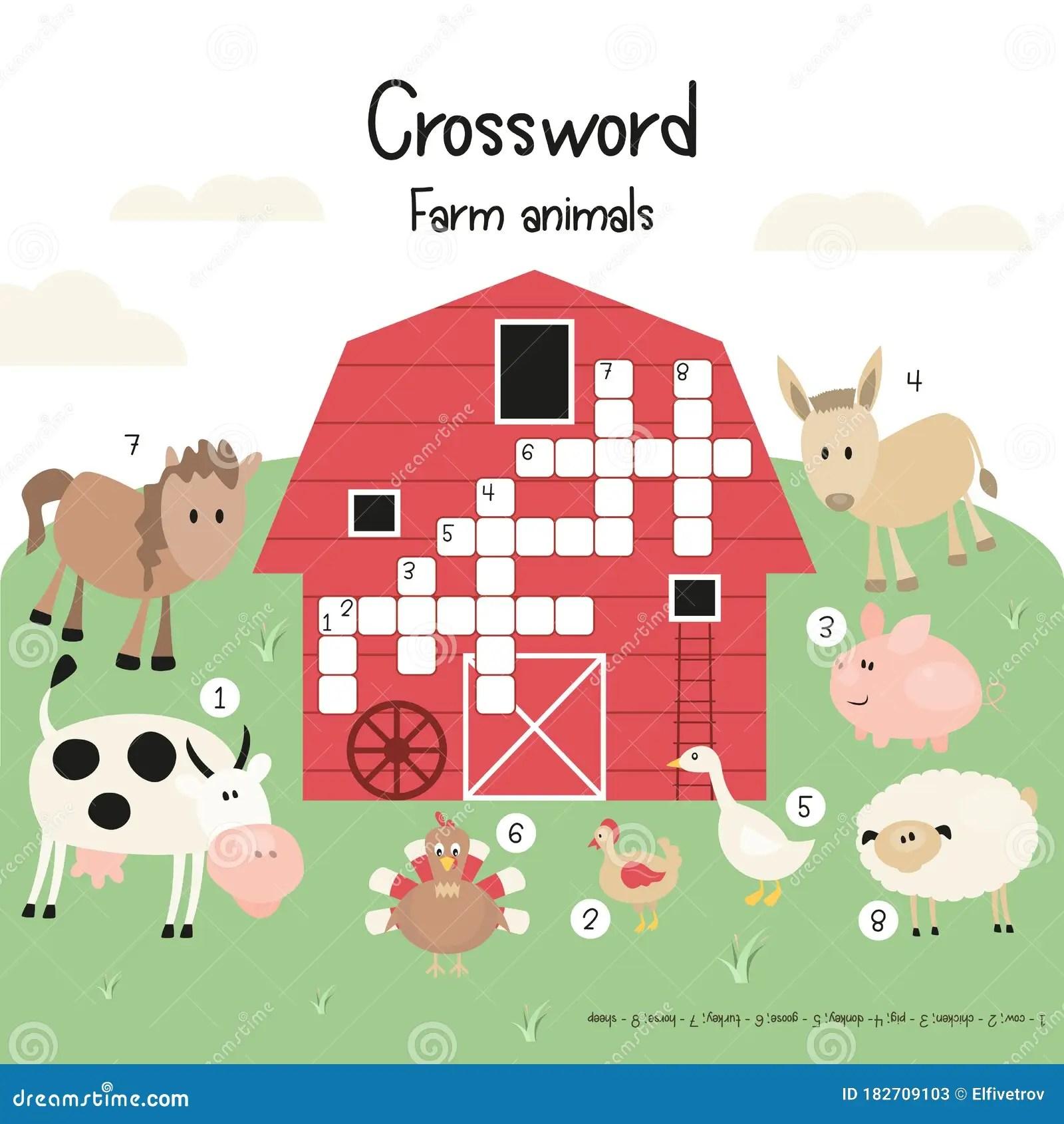 Kids Crossword Stock Vector Illustration Of Natural