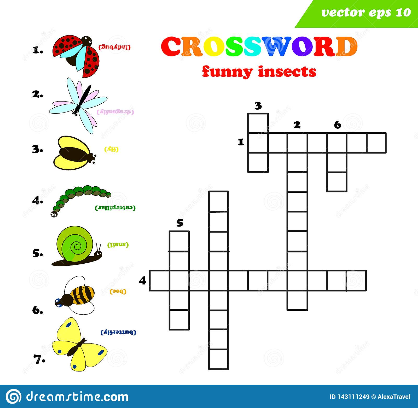 Kids Crossword With Seven Different Funny Insects Stock