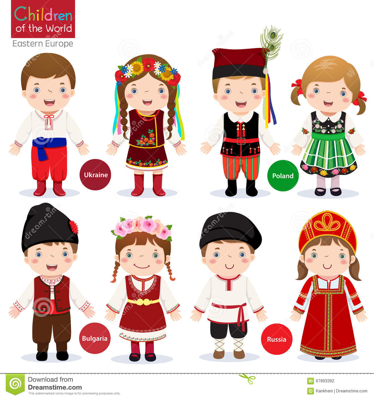 Kids In Different Traditional Costumes Stock Vector