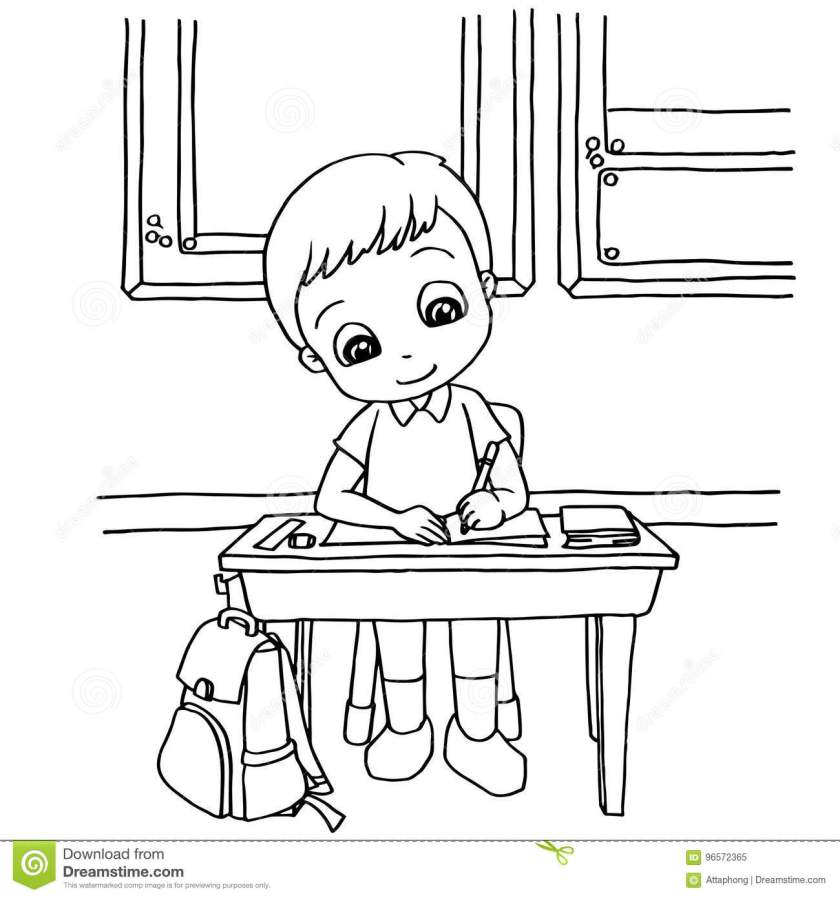 kids do homework in class cartoon coloring page vector